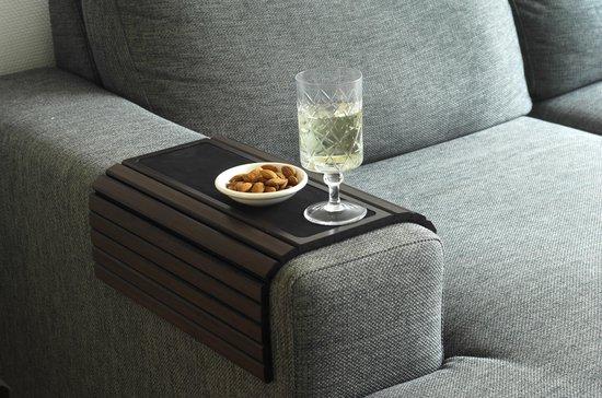 Kos Design Flexibel dienblad voor over de armleuning van bank of stoel - 100% Bamboe - Beschermende coating - XL - Anti slip - Donker
