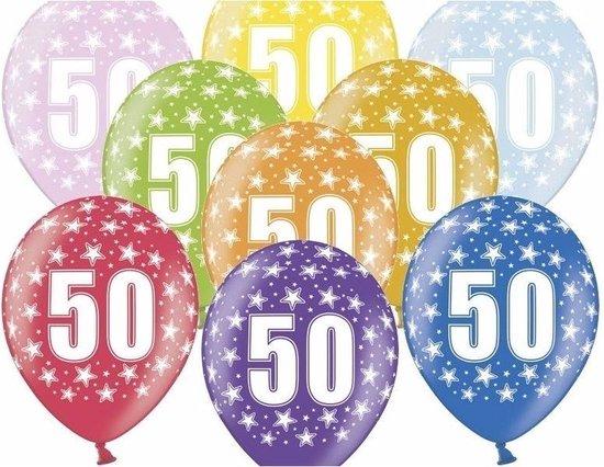 12x stuks Ballonnen 50 jaar thema print met sterretjes - Leeftijd feestartikelen versiering 50 jarige