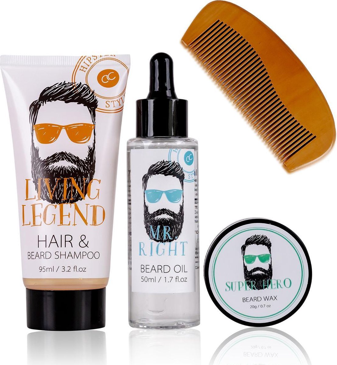 Baard verzorging set - Cadeau voor man - Oak & Citrus - HIPSTER STYLE - Baard shampoo, Baard olie, B