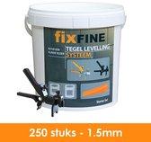 Tegel Levelling Systeem - Nivelleersysteem - Starter Set - 250 stuks – 1,5mm