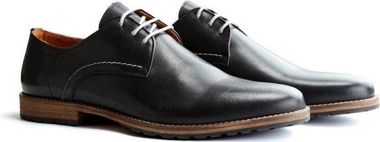 Travelin Manchester Leather - Leren veterschoenen - Donkergrijs - Maat 48
