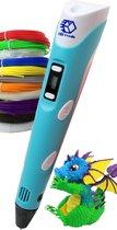 3D Teken Pen Speelgoed Starterset Blauw – Tekenen en Knutselen voor Kinderen – 3D Knutselpakket met LCD Scherm en 12x3M Filamenten