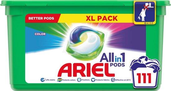 Ariel All in 1 Pods Kleur Wasmiddel - Voordeelverpakking 3 x 37 Wasbeurten - Wasmiddel Pods