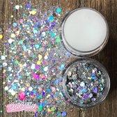 GetGlitterBaby Chunky Festival Glitters voor Lichaam en Gezicht / Face Body Glitter - Zilver - en Glitter HuidLijm