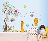 Vrolijke Boom Met Dieren Muursticker - Decoratie Stickers Muur & Wand - Voor Slaapkamer / Kinderkamer / Babykamer Jongens & Meisjes - Muurdecoratie Wanddecoratie