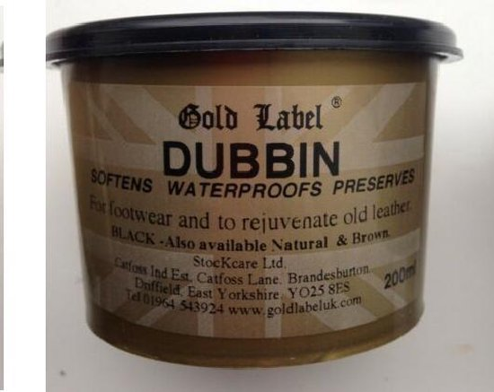 Gold Label Dubbin Zwart 200 gram