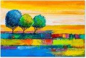 Kleurrijk Landschap met Bomen - Abstract - Outdoor Tuin Schilderij op Canvas