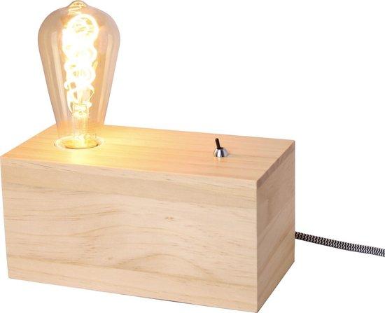 Houtblok tafellamp met tuimelschakelaar