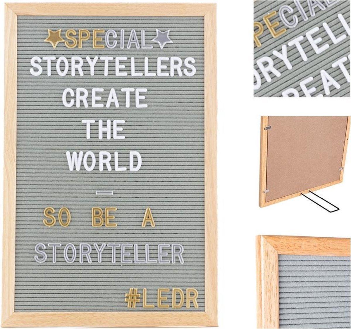 LEDR® Letterbord 30 x 45 Grijs – Inclusief 354 letters, symbolen & emoticons – Inclusief verstelbaar standaard - Eiken houten frame - LEDR