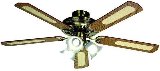 FARELEK - BALEARES � 132 cm - Omkeerbare plafondventilator, 5 walnoot / caned bladen + verlichting 3 tulpen 60 watt E27 - 112470