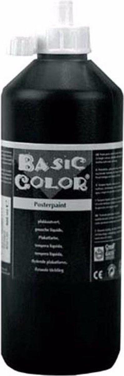 Zwarte hobby knutselen kinder verf op waterbasis 1000 ml - Schilderen/verfen