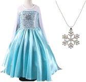 Elsa jurk Ster 120 met sleep + Frozen ketting maat 116-122 Prinsessen jurk verkleedkleding