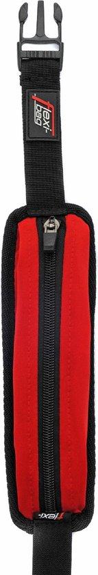 Flexi Bag, rood-zwarte running belt met extreem veel rek - hoge kwaliteit voor (wielren)fietsen, hardlopen, paardrijden, zeilen, mountainbiken, suppen, surfen, shoppen en andere buitensporten