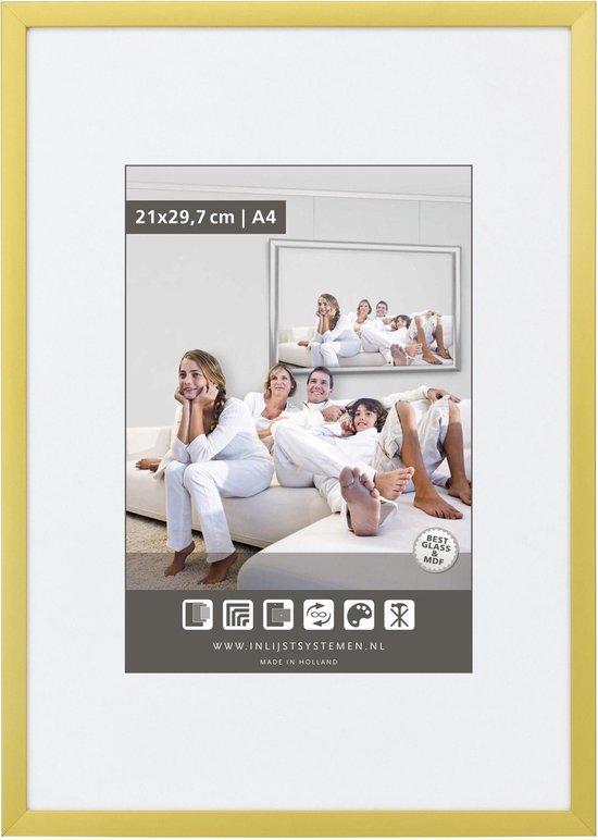 Vlakke Aluminium Wissellijst - Fotolijst - 60x80 cm - Helder Glas - Mat Goud - 10 mm