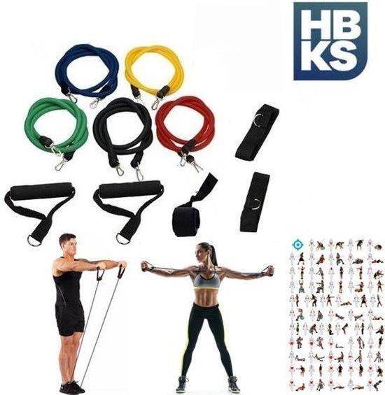 HBKS Sports Weerstandsbanden Set | 11-delige Set | Resistance Bands | Fitness Elastiek Set | Thuis Fitness Materiaal | Home Training | Sporten | Krachttraining | Muscle Bands Elast