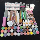 Acrylnagels Starterspakket   Acryl Nagels Starter Kit Set   Nail Art Pakket   42 kleuren Acryl Poeders/Glitters   500 Franse Tips