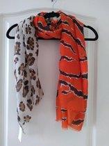 Sjaal Mila panterprint oranje