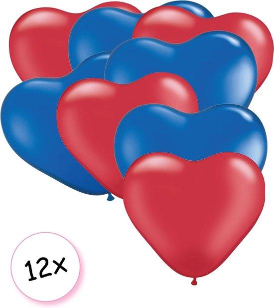 Ballonnen Hart Rood & Blauw 12 stuks 26 cm