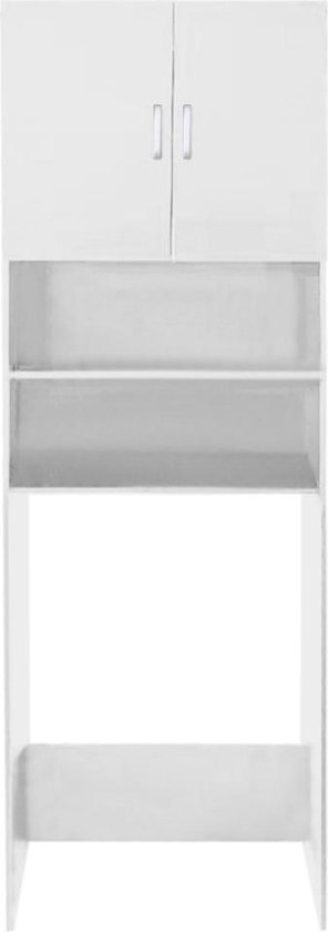 Wasmachine kast wasdroger - ombouw meubel wasmachine wasdroger - 190 cm hoog - wit