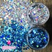 GetGlitterBaby Chunky Festival Glitters voor Lichaam en Gezicht / Face Body Glitter - Zilver en Groen / Blauw