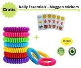 Anti Muggen Armband - Anti Muggen Stickers - Muggen banden - Anti Muggen - Muggen Bescherming - Anti Mug -  Anti Insecten - 10 Armbanden - 6 Stickers