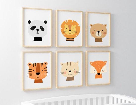 Babykamer Posters - Baby Cadeau Jongen en Meisje - Kinderkamer - 6 Posters - Dieren Posters - Babykamer Wanddecoratie - A4 formaat 20x30 cm - Poster Babykamer - Kinderposters - Baby Dieren
