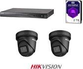 HIKVISION Exir Dome 6MP 2.8mm Black Set, 4K 4-channel recorder incl 2TB WD Purple, 2x EXIR 6MP Dome's 2.8mm + beugels en gratis netwerkkabel.