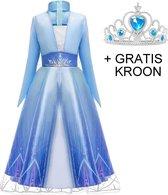 Frozen 2 Elsa jurk ster met sleep 104-110 (110) + GRATIS kroon Prinsessen jurk verkleedkleding