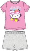 """Hello Kitty - 2-delige Shortama-set - Model """"Dolce Vita"""" - Roze & Grijs - 98 cm - 3 jaar"""