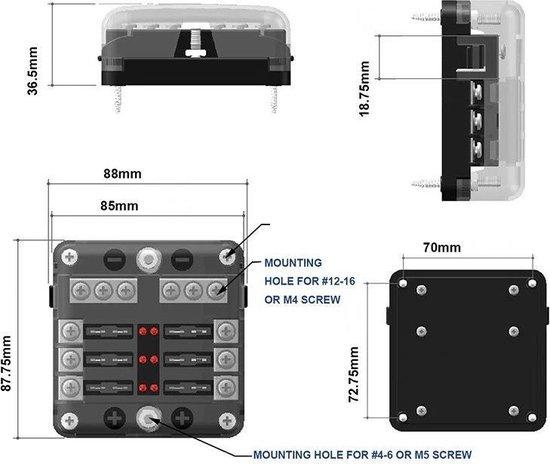 Luxe zekeringhouder 6 met led indicator