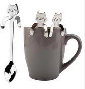 Kattenhebbedingen - Theelepels - koffie lepeltjes- Hangende kat - 4 stuks - zilver