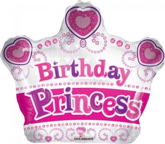 Helium Ballon Kroon Birthday Princess 45cm leeg