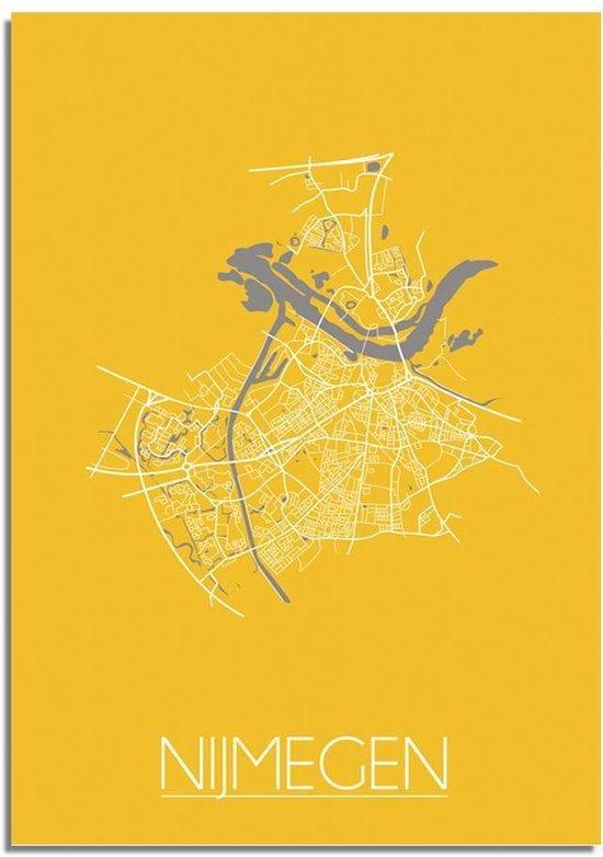 DesignClaud Nijmegen Plattegrond poster Geel A4 poster (21x29,7cm)