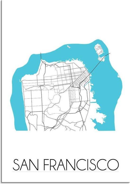 Plattegrond San Francisco Stadskaart poster DesignClaud - Wit - A4 Poster