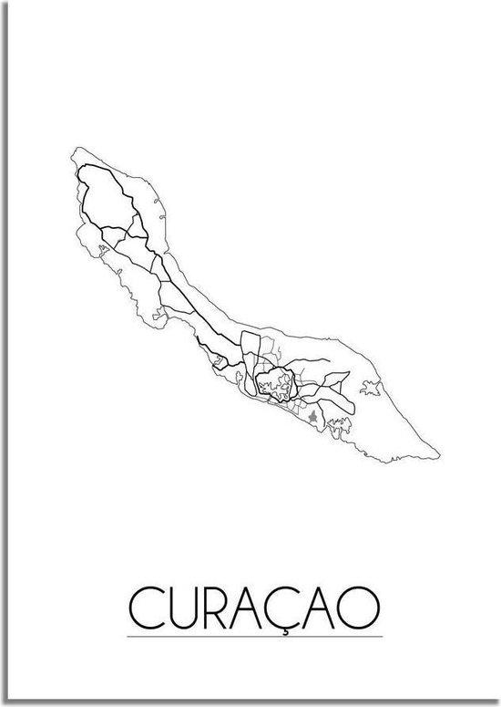 Plattegrond Curacao Stadskaart Poster DesignClaud - Wit Grijs - A4 + fotolijst wit