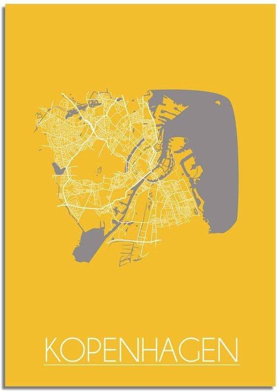 Plattegrond Kopenhagen Stadskaart poster DesignClaud - Geel - A2 + fotolijst wit