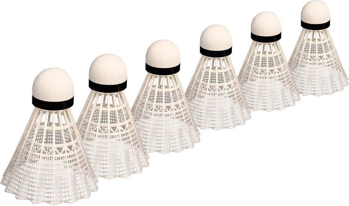 Avento Badminton Shuttles in Koker - Kurk - 6 Stuks - Wit/Zwart