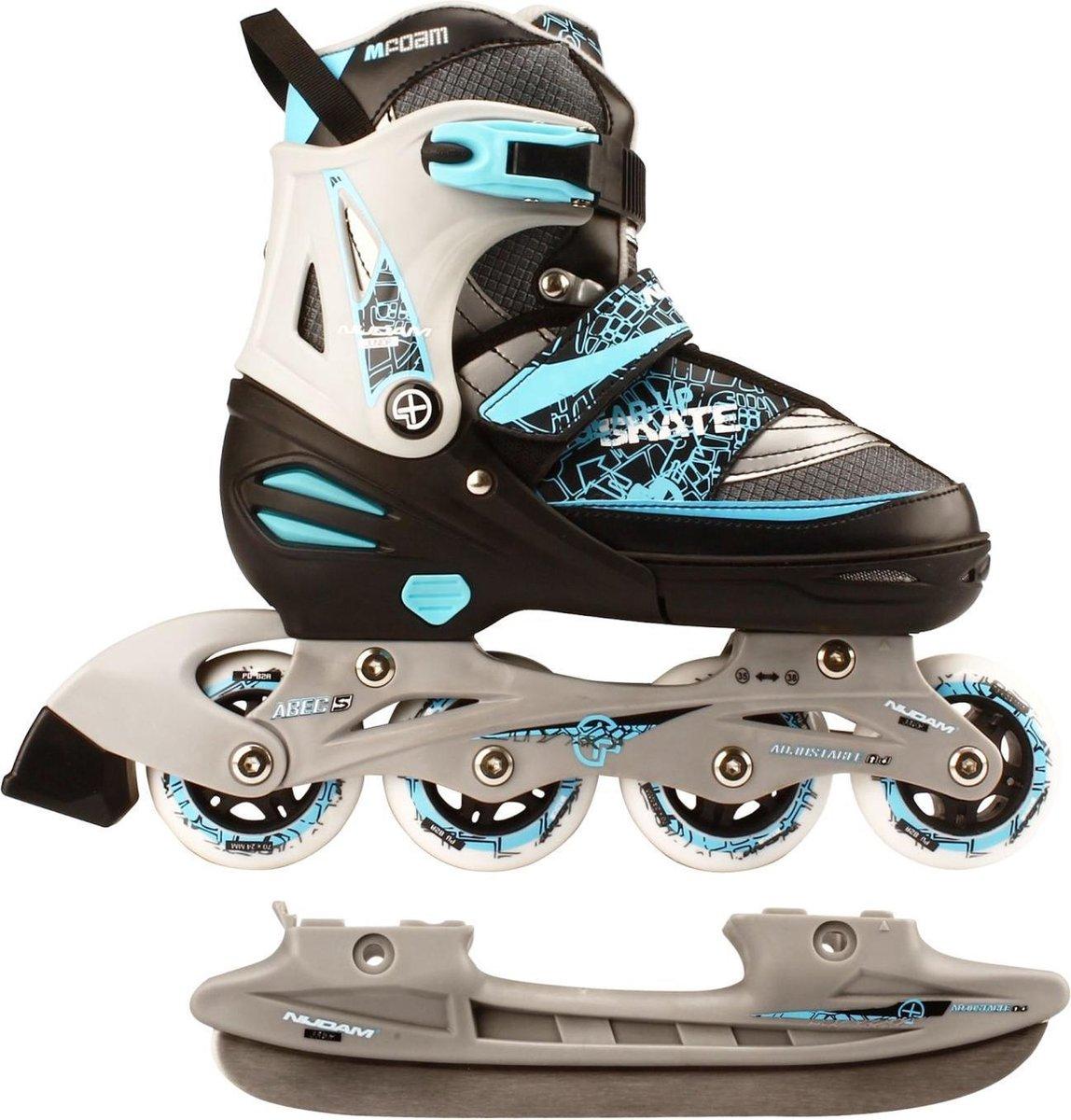 Nijdam Junior Skate/Schaats Combo - Semi-Softboot - Zwart - Maat 27-30