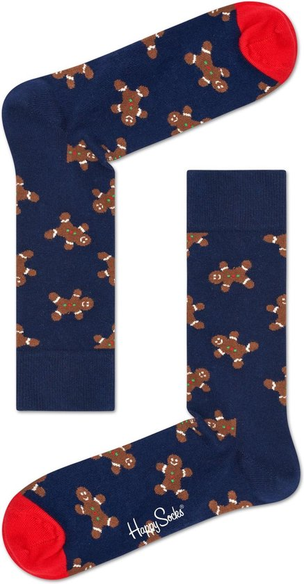 Happy Socks - Happy Holiday - kerst sokken - Gingerbread - Donkerblauw Multi - Unisex - Maat 36-40