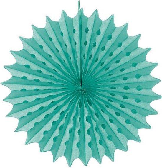 Turquoise Honeycomb Waaier - 45cm