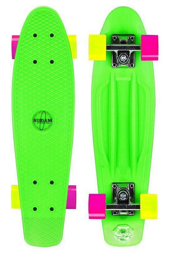 """Nijdam Kunststof Skateboard 22.5"""" - Flipgrip-board - Groen/Fuchsia/Geel"""