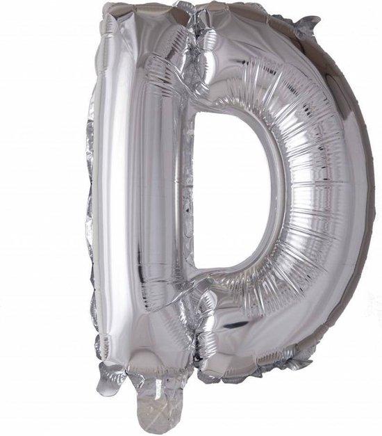Folie Ballon Letter D Zilver XL 86cm leeg