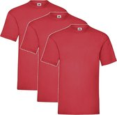 3 Pack - Fruit of The Loom - Shirts - Kids - Ronde Hals - Maat 140 - Rood