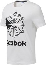 Reebok Classics Big Logo Graphic Tee Dames Shirt - White/Black - Maat S