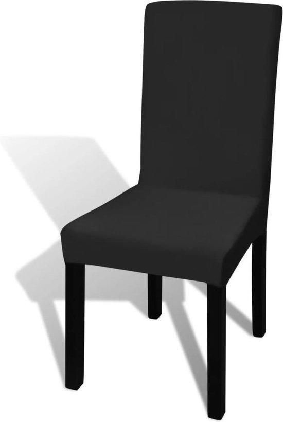vidaXL Hoes voor stoelen - Stretch - 6 stuks - Zwart