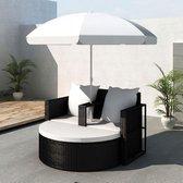 vidaXL - Loungebed set met parasol - Wicker - Zwart