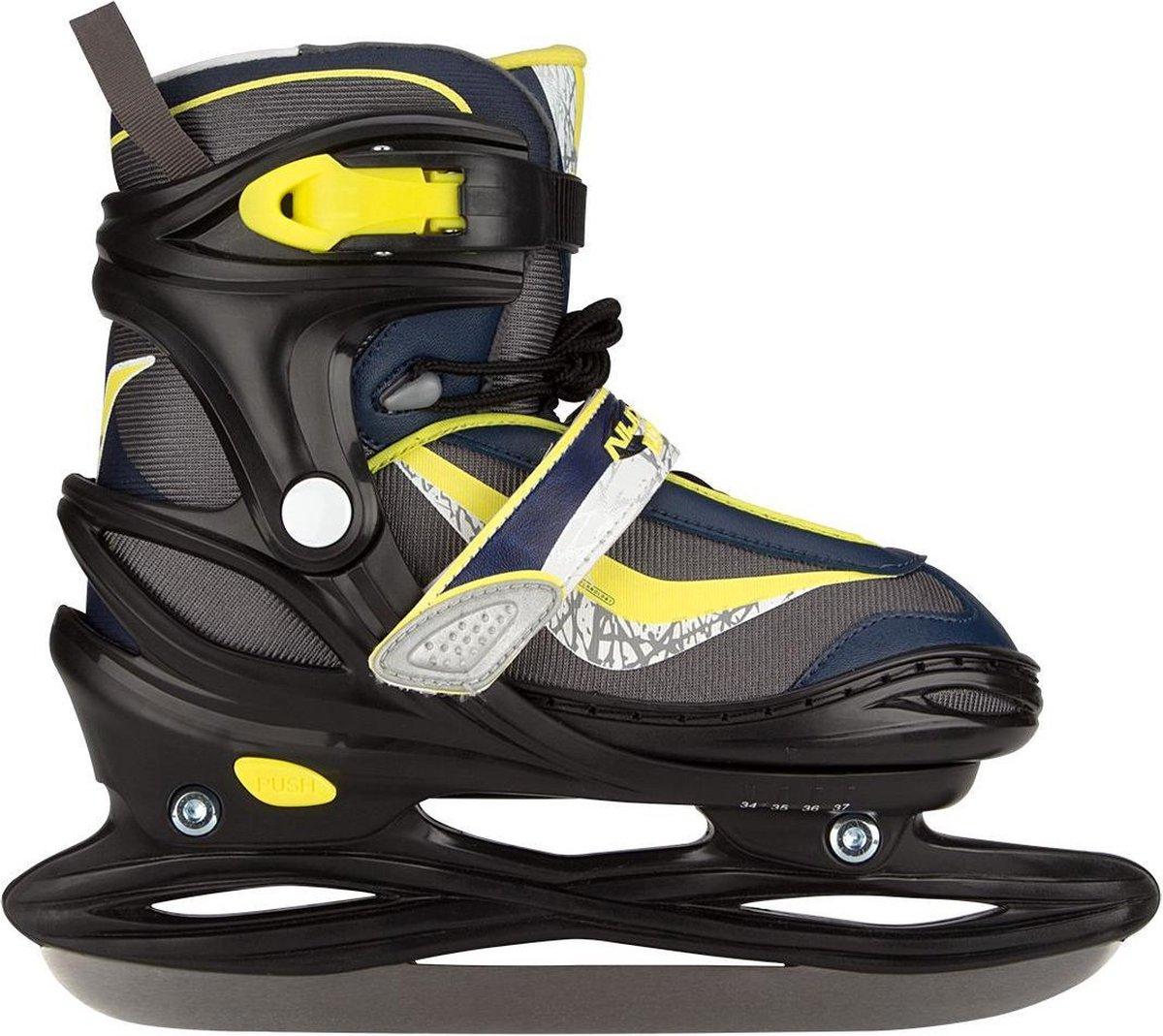 Nijdam 3177 Junior IJshockeyschaats Junior - Verstelbaar - Semi-Softboot - Antraciet/Marine/Fluorgeel - 30-33