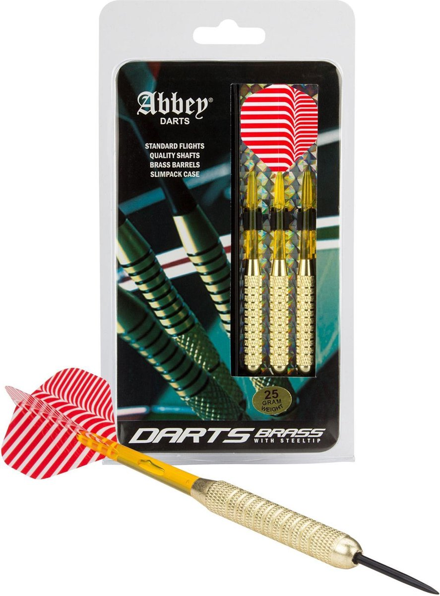 Abbey Darts Darts - Brass - Rood/Wit - 25