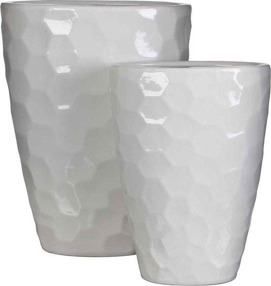 Mica Decorations diamond vaas ovaal wit set van 2 grootste maat in cm: 30 x 17 x 40