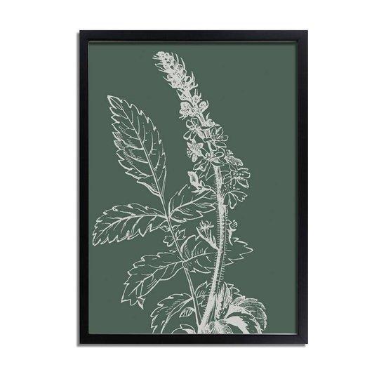 DesignClaud Vintage bloem blad poster - Groen - Puur Natuur Botanische poster A3 + Fotolijst wit